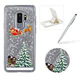 Liquid Case for Samsung Galaxy Note 8,Clear Hard Cover for Samsung Galaxy Note 8,Herzzer Stylish Luxury 3D Silver Glitters Flowing Stars Quicksand Bling Case with Carriage Christmas Tree Santa Claus Pattern