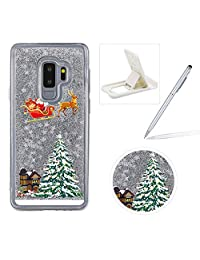 Liquid Case for Samsung Galaxy S5,Clear Hard Cover for Samsung Galaxy S5,Herzzer Stylish Luxury 3D Silver Glitters Flowing Stars Quicksand Bling Case with Carriage Christmas Tree Santa Claus Pattern