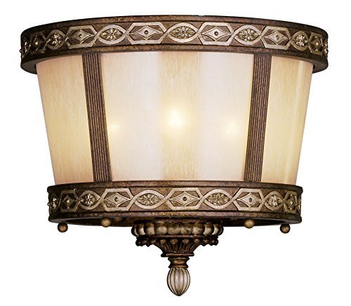 Livex Lighting 8860-64 Seville 3 Light Ceiling Mount in Palacial Bronze with Gilded Accents by Livex Lighting (Seville Ceiling Lighting)