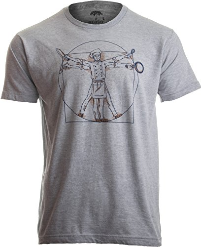 6634397f2 Vitruvian Chef | Funny Cook Restaurant Kitchen Worker Food Cooking Humor T- Shirt Heather Grey
