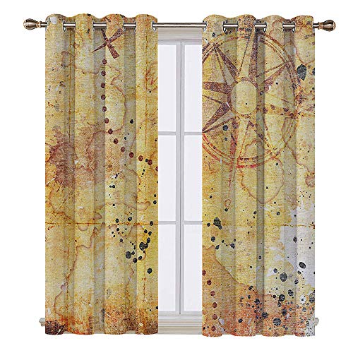 SATVSHOP Patterned Drape for Glass Door - 120W x 72L Inch-Waterproof Window Curtain.Island Map Antique Treasure Map Grunge usty Style Parchment History Theme Boho ations -