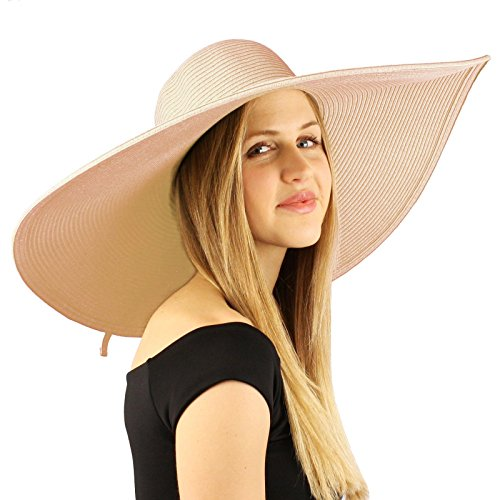 Summer Elegant Derby Big Super Wide Brim 8'' Brim Floppy Sun Beach Dress Hat Dusty Pink by SK Hat shop