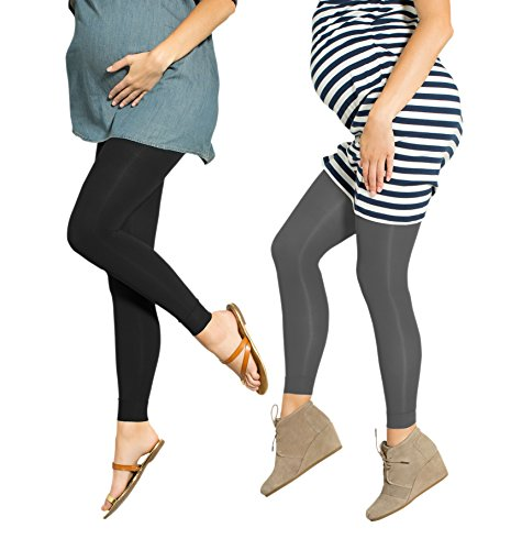 2 Pack Preggers 10-15mmhg Footless Maternity Compression Leggings (Black/Coal L)