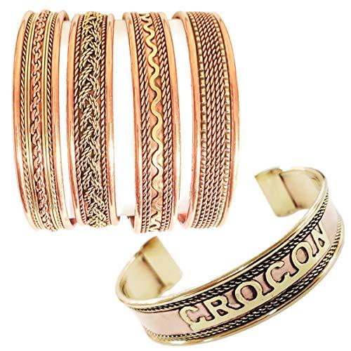 Exclusive Tibetan Copper Bracelets Adjustable Magnetic Indian Pattern Spiritual Yoga Jewelry Handmade for Unisex (Set of 4)