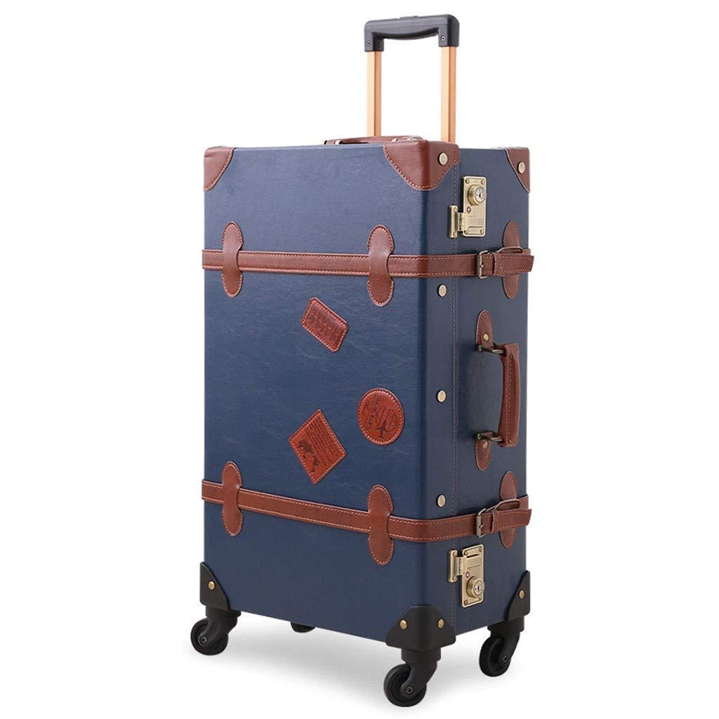 FRF トロリーケース- 学生レトロスーツケーストロリーケース、男性と女性のファッションパーソナリティスーツケースに搭乗する20/22/24インチ (色 : Retro blue, サイズ さいず : 24in) B07QQ6C3XK Retro blue 24in