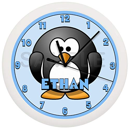 Susie85Electra Personalized Boy Blue Penguin Wood Wall Clock Modern Decorative Non Ticking for Living Room Kids Bedrooms 12 Inch
