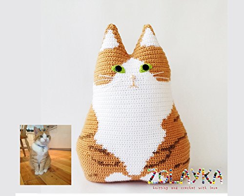 Portrait Crochet - Crochet custom cat portrait pillow pet memorial gift look alike stuffed toy from picture