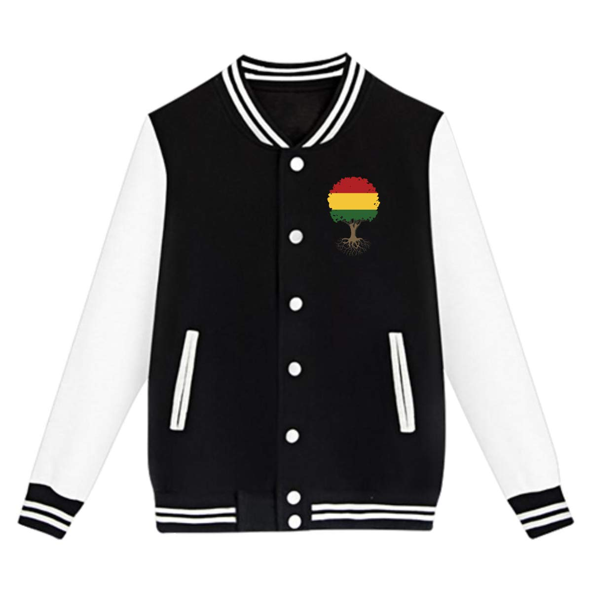 NJKM5MJ Unisex Teen Baseball Uniform Jacket Tree of Life with Rasta Flag Sweater Sport Coat