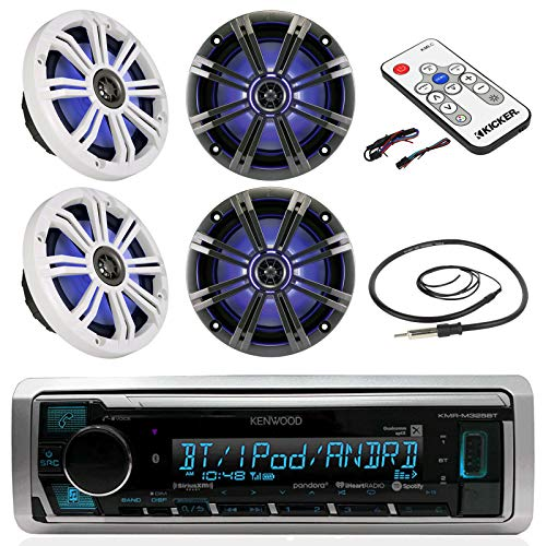 Kenwood Marine Boat Bluetooth Digital Stereo MP3 USB AM/FM Radio Palyer iPod iPhone Pandora Ready Receiver With 4 X Kicker Marine 6.5