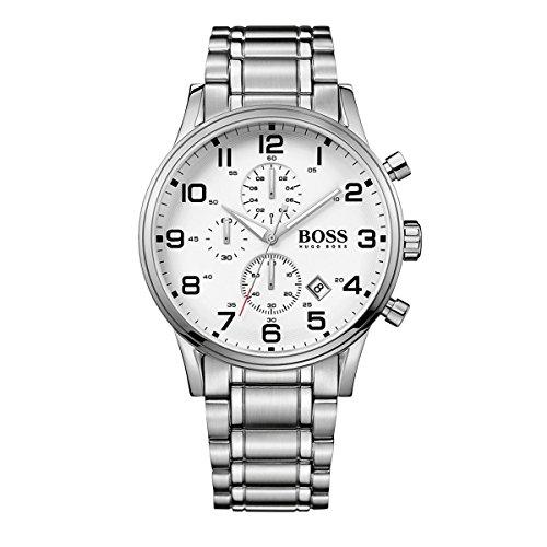 Hugo Boss 1513182 White Chronograph Dial Stainless Steel Bracelet Men's Watch