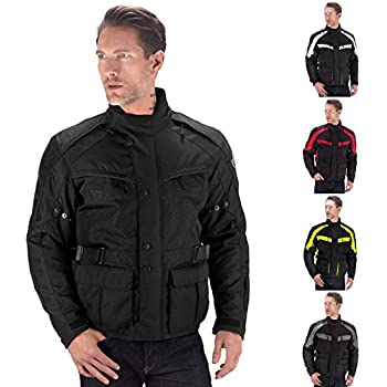 Viking Cycle Enforcer Armored Adventure Touring Textile Motorcycle Jacket For Men (Small, Black)