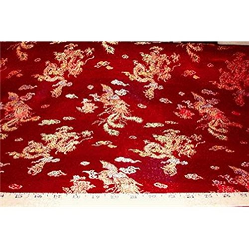 Chinese Faux Silk Dragon Peacock Brocade Satin Fabric Sold By The Yard (Red)