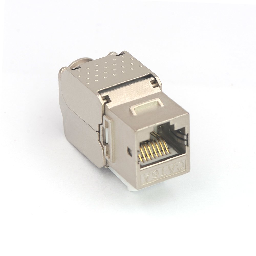 VCE 10 Paquetes Cat6A RJ45 Inserto de clavija trapezoidal de 90 grados y soporte UTP Cat6A Keystone de Ethernet Listado UL