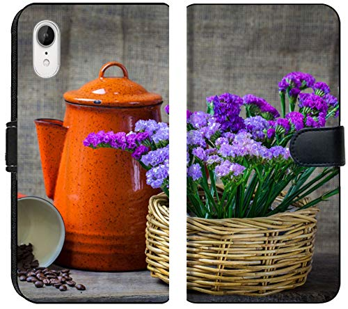Luxlady iPhone XR Flip Fabric Wallet Case Image ID: 24077437 Red teapot Place on Wooden Table with Purple Flower in Wooden Basket