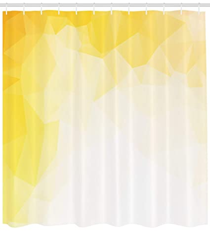 Ambesonne Yellow And White Shower Curtain Fractal Mosaic Form With Simplistic Abstract Triangles Ombre