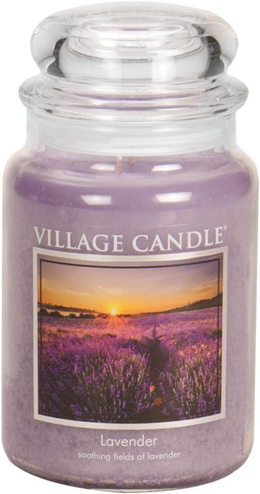 Village Candle Lavender 26 oz Glass Jar Scented Candle, Large