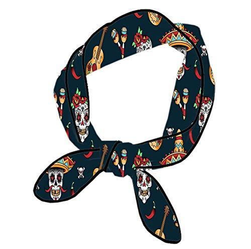 Peppers Scrunchie (Skinny Scarf Set Summer Neckerchief Handbag Handle Wraps Guitar Pepper Sugar Skull)