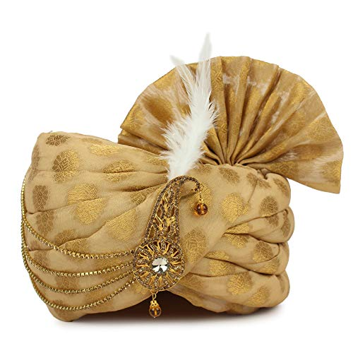 Aman Royal Dulha Collection Golden Maharaji Pagdi/Dulha Safa (Free Size)