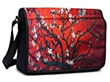 Meffort Inc® 15.6 Inch Compact Padded Compartment Multi-Pocket Shoulder Messenger Crossbody Hybrid Traveling Bag - Van Gogh Cherry Blossom