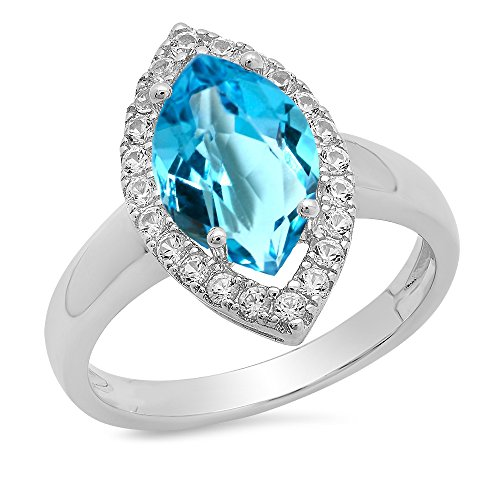 Dazzlingrock Collection Sterling Silver Marquise Blue Topaz & Round White Sapphire Halo Bridal Engagement Ring, Size 7 - Marquise Topaz Ring