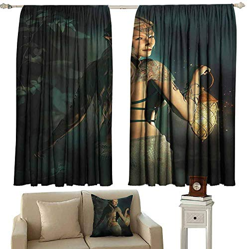 (Kids Room Curtains Fairy Elf Princes with Lantern in Mysterious Forest Ornamental Elements Enchantment Light Blocking Drapes with Liner W63 xL72 Petrol Blue Beige)