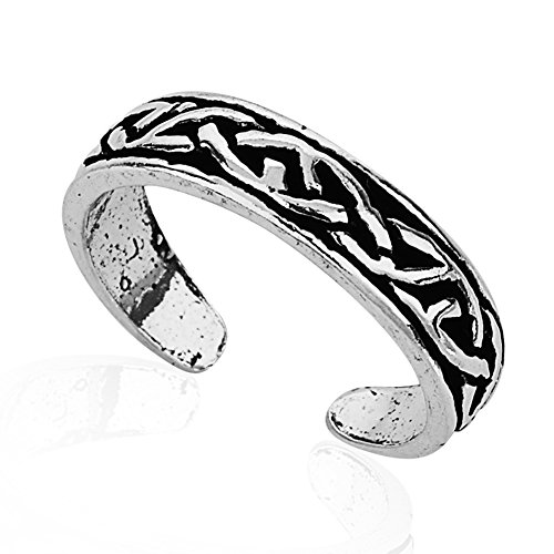 Chuvora 925 Sterling Silver Simple Symbolic Celtic Knot Pattern Open Ended Band Toe Ring