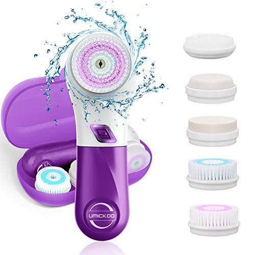 UMICKOO Facial Cleansing Brush with 5 Face Brush Heads,Waterproof Spin Cleansing System and Gentle Exfoliating for All Skin Types Purple