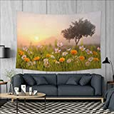 Nature Art Wall Decor Daisy Flowers Meadow with Tree Background in Mist Ecp Garden Botany Fresh Scenery Tapestry Wall Tapestry W60 x L51 (inch) Multicolor