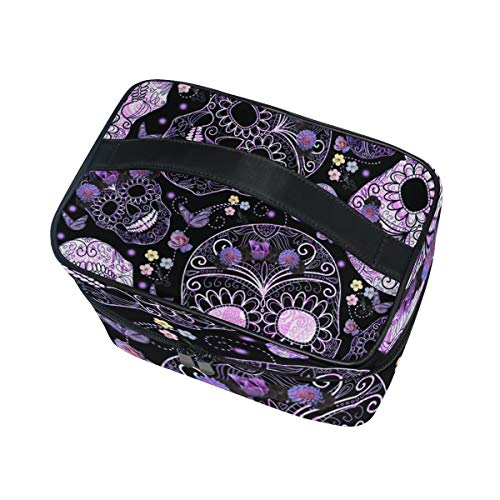 Makeup Bag Sugar Skulls Purple Black Floral Prints Cosmetic Bags Women's Portable Brushes Case Toiletry Bag Travel Kit Jewelry Organizer Multifunctional Pouch/Bags ()