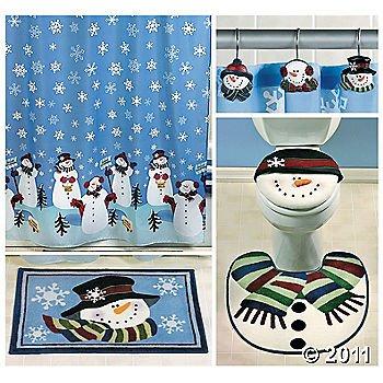 snowman bathroom sets. Snowman Bathroom Set  Includes Shower Curtain 12 Hooks Bath Mat Amazon com