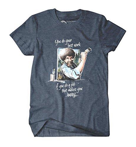 """Happy"" Bob Ross Men's Lightweight Crew Neck T-Shirt by UnderRepped"