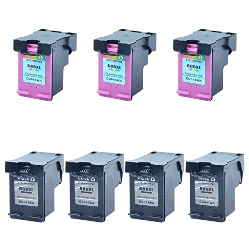 GREENCYCLE Hight Yield Ink Cartridge For HP 60XL CC641WN CC644WN Black and Tri-color Set - Black,4 Pack and Color,3 Pack