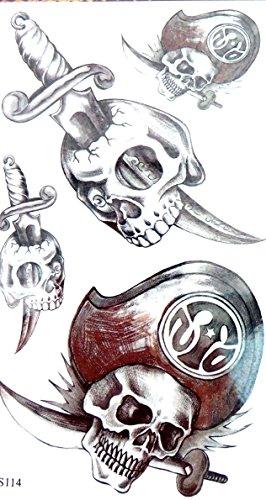 pirate skull temporary tattoo sticker for guys girls Halloween (Guy To Girl Halloween)