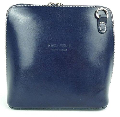 Piel italiana para pequeño Cruz Cuerpo Bolso o bolsa de hombro, azul (azul) - PS14 Azul