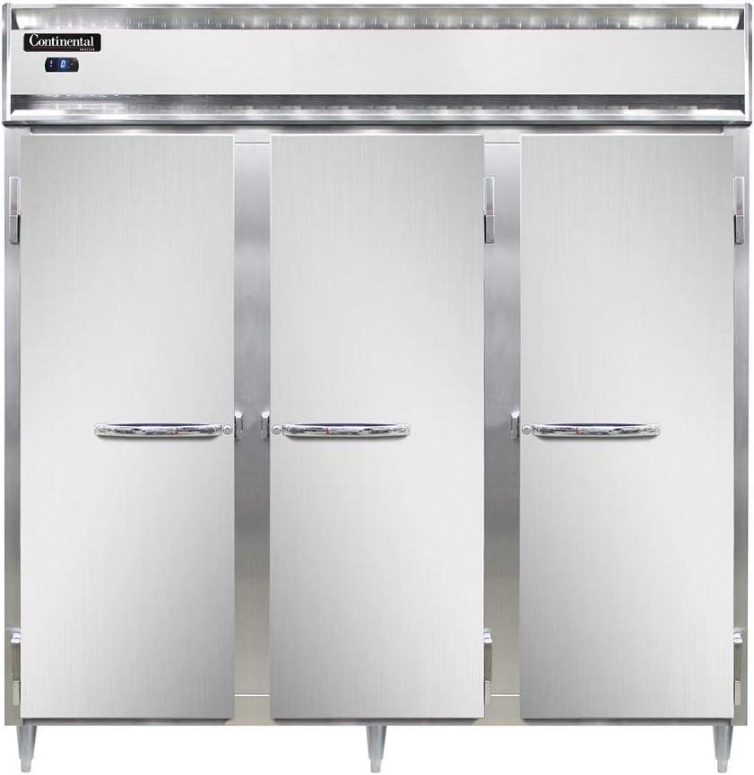 Continental Refrigerator Dl3F-Ss-Pt Designer Line Three Section Pass-Thru Freezer, Full Stainless