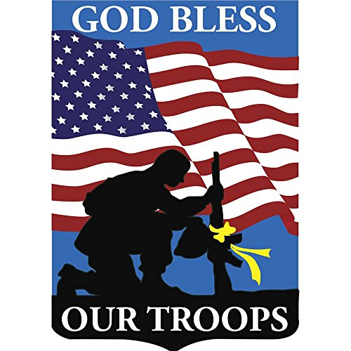 Patriotic God Bless Our Troops Soldier Silhouette 18 x 13 Shield Shape Small Garden Flag - Magnolia Silhouette