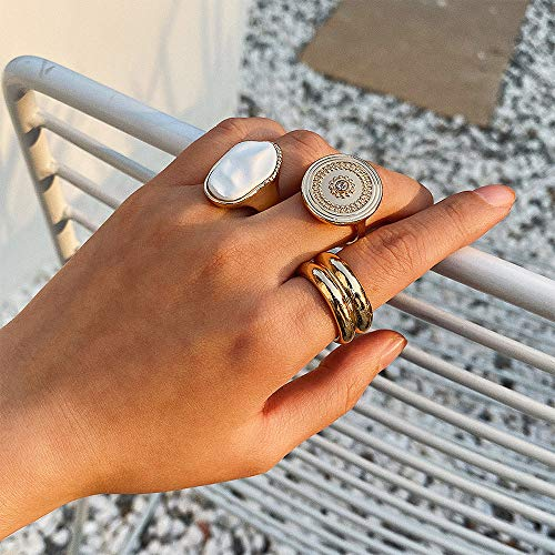 Aimimier Bohemian Gold Knuckle Ring Set Vintage Carved Thick Coin Round Ring Bands Set of 3 Bridal Finger Rings for Women and Girls