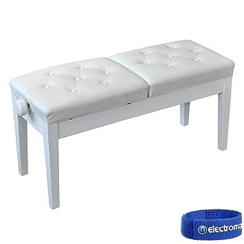 Swell Njs Njs076Fw Deluxe Adjustable Duet Piano Stool White Short Links Chair Design For Home Short Linksinfo