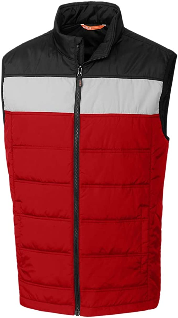 Zimaes-Men Color Block Gilet Sleeveless Quilted Vest with Pockets