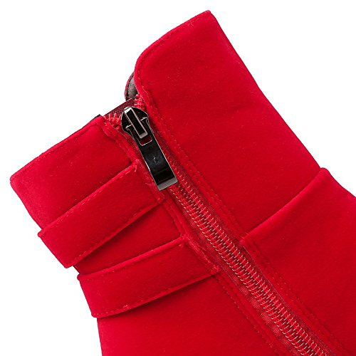 AllhqFashion Mujeres Puntera Redonda Sólido Caña Baja Plataforma Botas con Hebilla Rojo