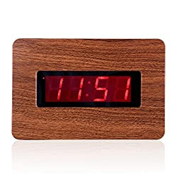 Kwanwa Digital Wall Clock With 1.4'' Large Red LED Numbers Display And Wood Grain Look,Battery Powered Only,Can Be Placed Anywhere Without A Cumbersome Cord