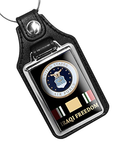 - BrotherhoodKey Rings Faux Leather Key Tag With Iraqi Freedom Air Force Key Chain