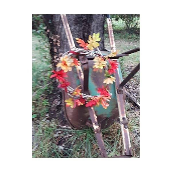 Wood and fabric flower fall wreath