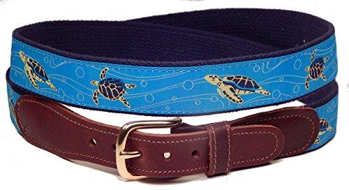 Preston Leather Sea Turtle Belt Blue 44