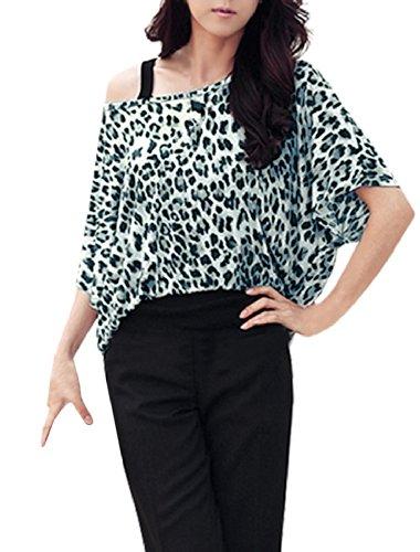 Allegra K Women Boat Neck Leopard Prints Half Batwing Sleeve Blouse Gray S