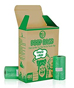 BoTy Dogs Dog Poop Bags in Bulk - 400 Green Waste Bags - Unscented Bags with Compact Box Made From Recycled Material