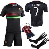 Soccer Kids 2016/2017 Football Soccer European Cup Ronaldo Away Portugal Kids Jersey & Shorts & Socks With Free Key Chain (7-8 Years, Black)