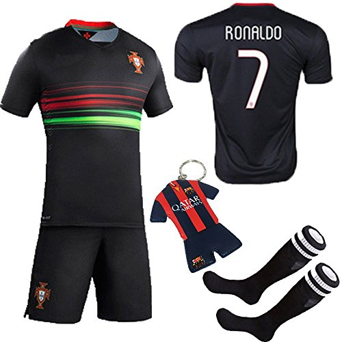 KID BOX 2017 #7 Away Black Soccer Football Jersey Sportsw...