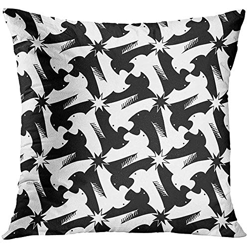 - Throw Pillow Cover Animal Houndstooth Pied De Poule Griffin Black and White Pattern Classic Escher Style Bird Check Decorative Pillow Case Home Decor Square 18x18 Inches Pillowcase