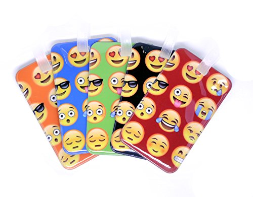 Emoji Luggage Tag Set 5 Pack Bright Colors for Kids ()